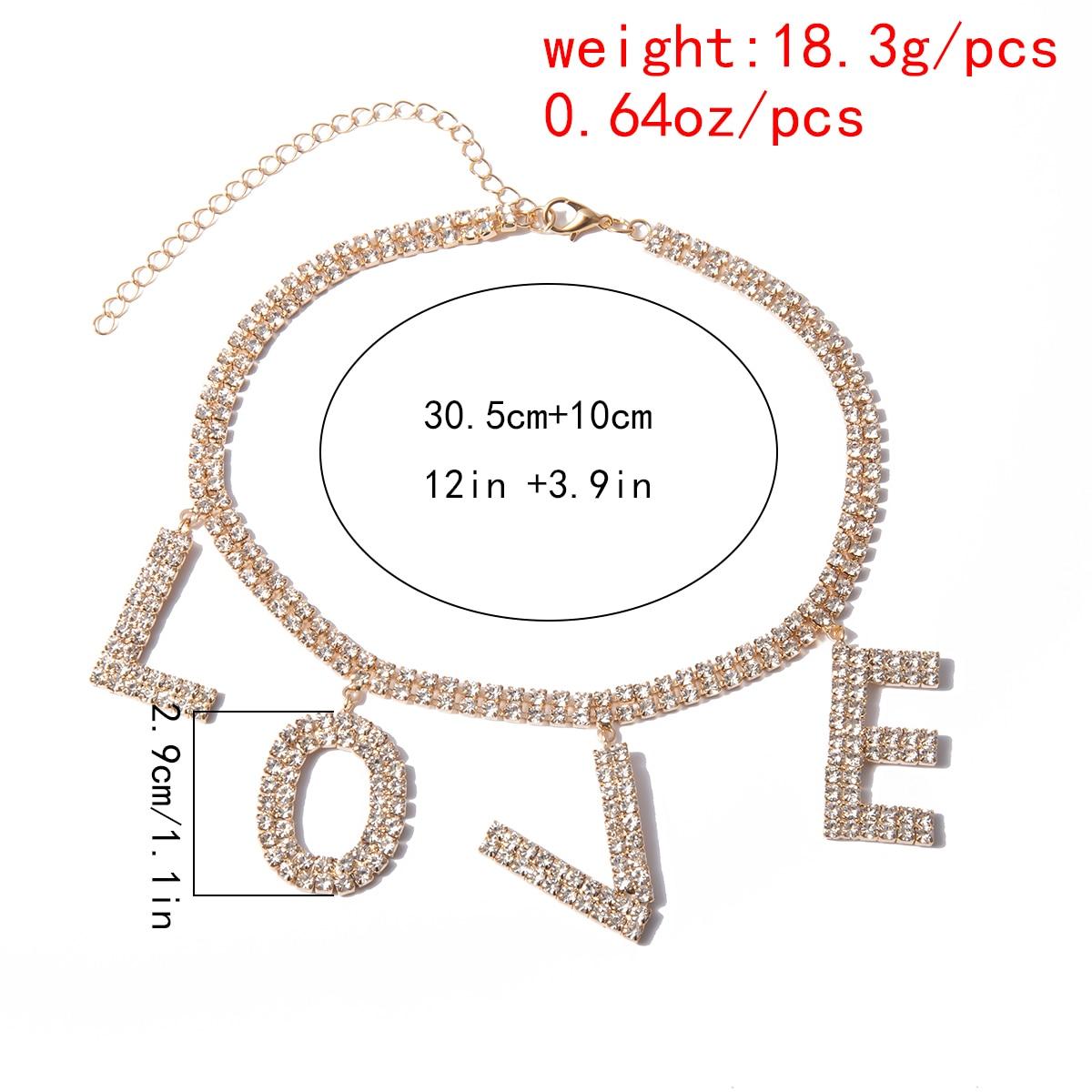Купить с кэшбэком Luxury Crystal Love Letter Choker Necklace for Women Collar Femme Statement Punk Rhinestone Chain Necklace Couple Gothic Jewelry