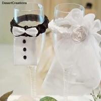 2pcsset bridal veil bow tie bride bridal veil wedding party toasting wine glasses decor party gifts
