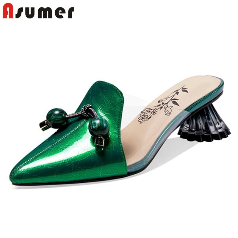 ASUMER 2021 أحدث النساء مضخات أشار تو أحذية من الجلد الحقيقي موضة غريبة عالية الكعب البغال أحذية السيدات الصيف الصنادل