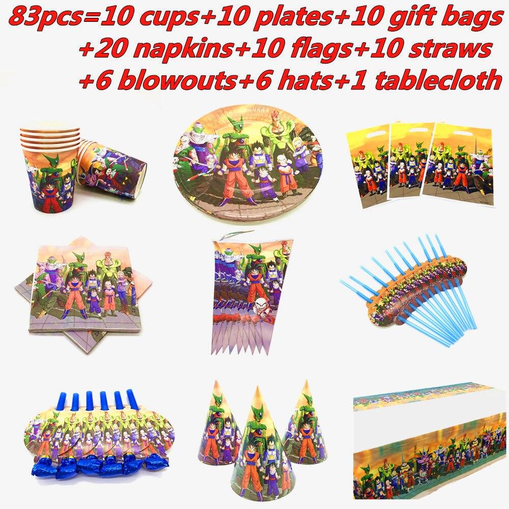 83Pcs Dragon Ball Z Goku Party Supplies Geschirr Set Papier Tasse Platte Servietten Baby Dusche Fahnen Kinder Geburtstag Party dekorationen