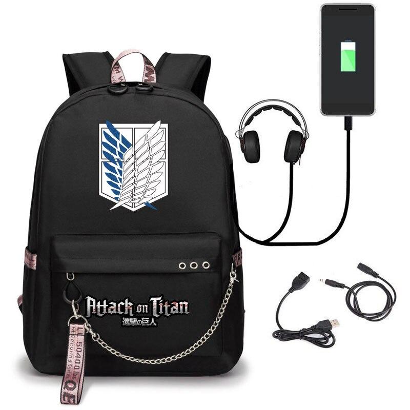 Mochila de ataque a los Titanes, disfraz de Eren Bag Shingeki No Kyojin, mochila escolar con carga USB, mochila Unisex de uso diario para Halloween y Carnaval