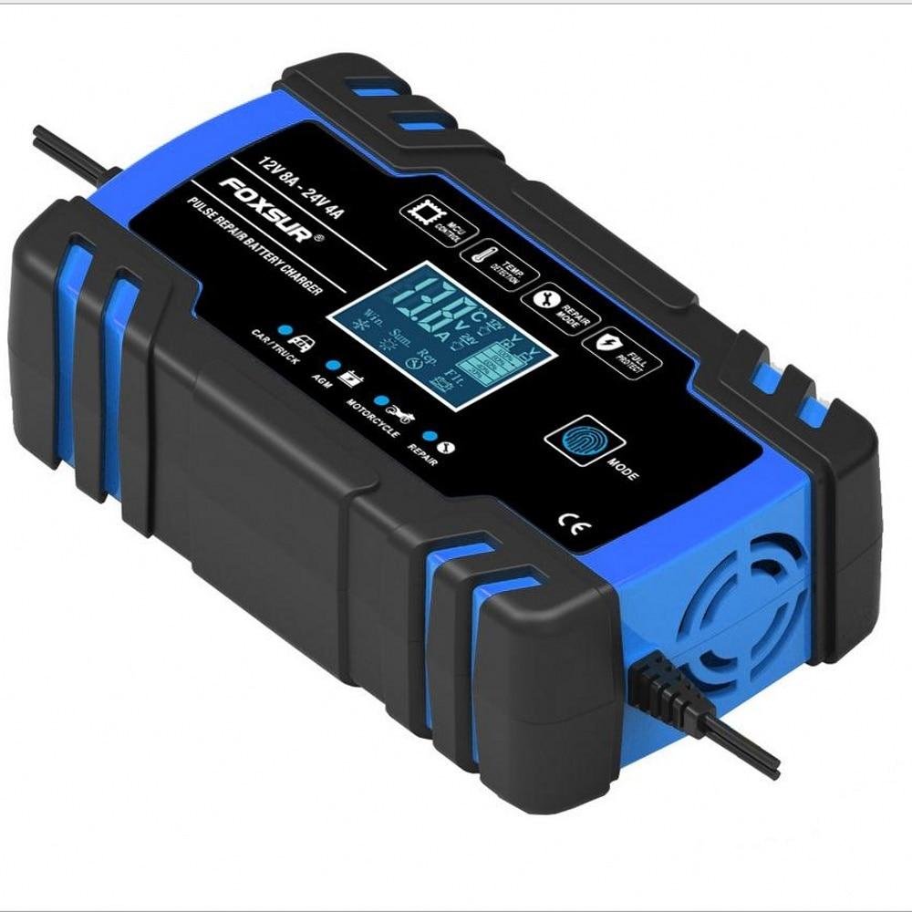 Carregador de Bateria de Carro Rápido para Agm Carregador de Bateria Carregamento Gel Molhado Chumbo Ácido Display Lcd 12v 8a 24v 4a