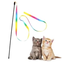 1pc pet cat toy products plastic funny teaser toys short long pole double sided rainbow webbing cat funplaying