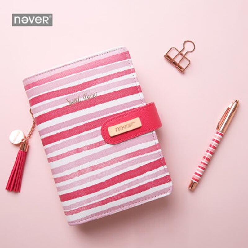 Nunca Rosa raya A6 revistas y cuadernos espiral planificador organizador diario libro conjunto de artículos escolares y de oficina regalo papelería