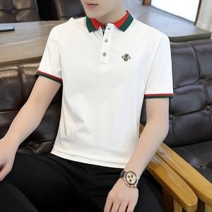 2021 Summer New Men's Short-sleeved POLO Shirt T Shirt Cotton Thin Business Lapel Men's Slimming POLO Shirt Men