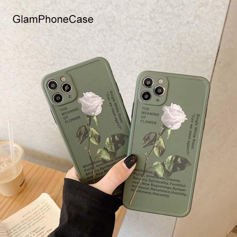Funda de teléfono GlamPhoneCase Blanca Rosa para iPhoneSE 2 11Pro/Max X XS Max XR funda de silicona suave para iPhone11 7 8Plus