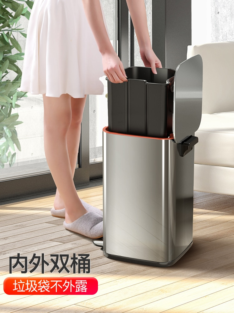 Stainless Steel Big Trash Can Kitchen Bathroom Recycle Modern Trash Can Compost Bin Papelera Cocina Home Office Storage EI50LJ enlarge