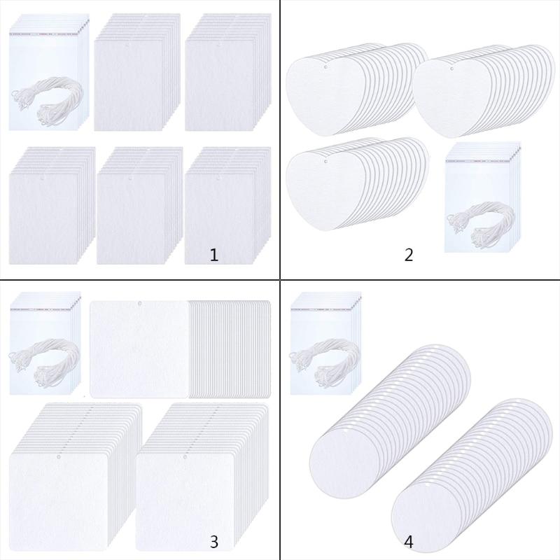 100 Pieces Sublimation Air Freshener Blanks DIY Air Freshener Scented Sheets Blank Car Pressed Felt