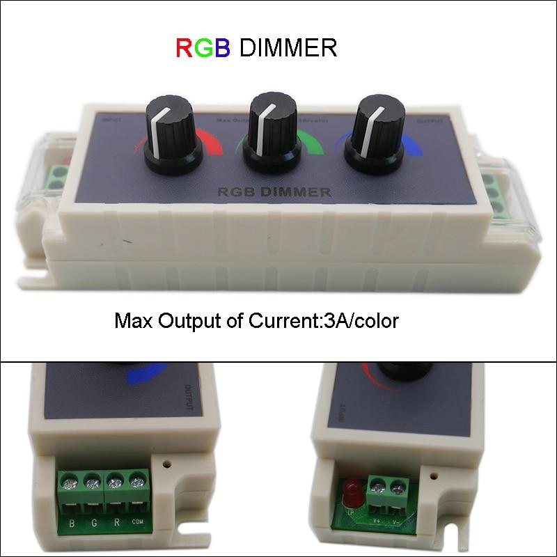 DC12-24V RGB Dimmer LED Strip Lights Tape Controller 3 way Stepless Adjustable Switch for 2835 3528 5050 led light