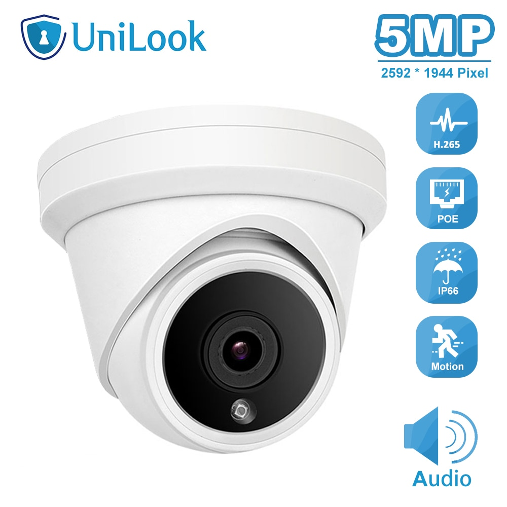 UniLook 5MP POE IP Camera Built in Microphone Outdoor Security CCTV Camera IP66 IR 30m Hikvision Compatible ONVIF P2P H.265 5mp bullet poe ip camera built in microphone sd card slot cctv security cctv camera ip66 night vision h 265 onvif p2p