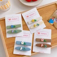 hair clip for women girls creative hair accessories flower shape metal hairpin 2pcsset summer fashion colorful tulip clip