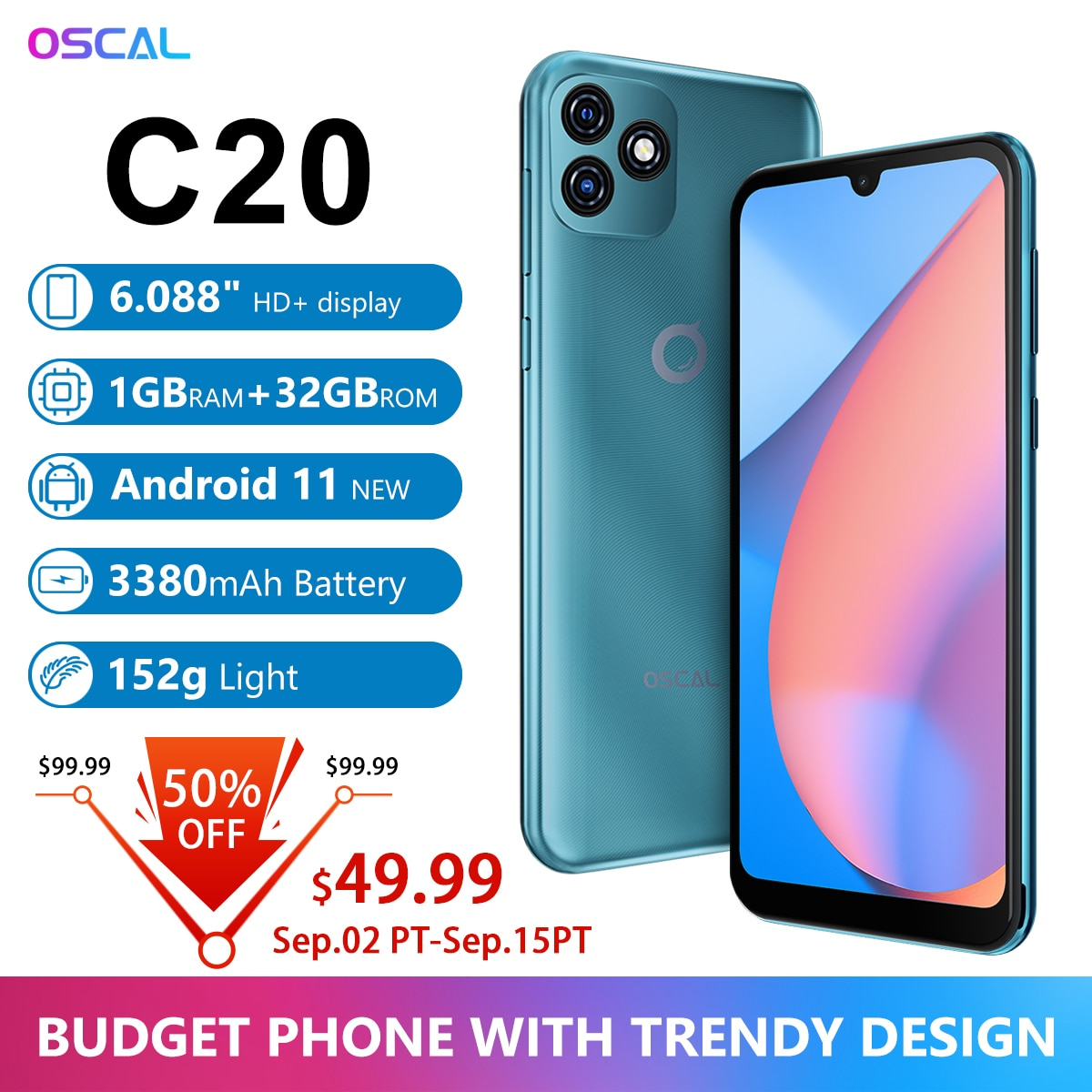 """BLACKVIEW OSCAL C20 Smartphone 1GB RAM 32GB ROM SC7731E Quad Core 6.088"""" Cellphone 3380mAh Dual Camera Android 11 Mobile Phone"""
