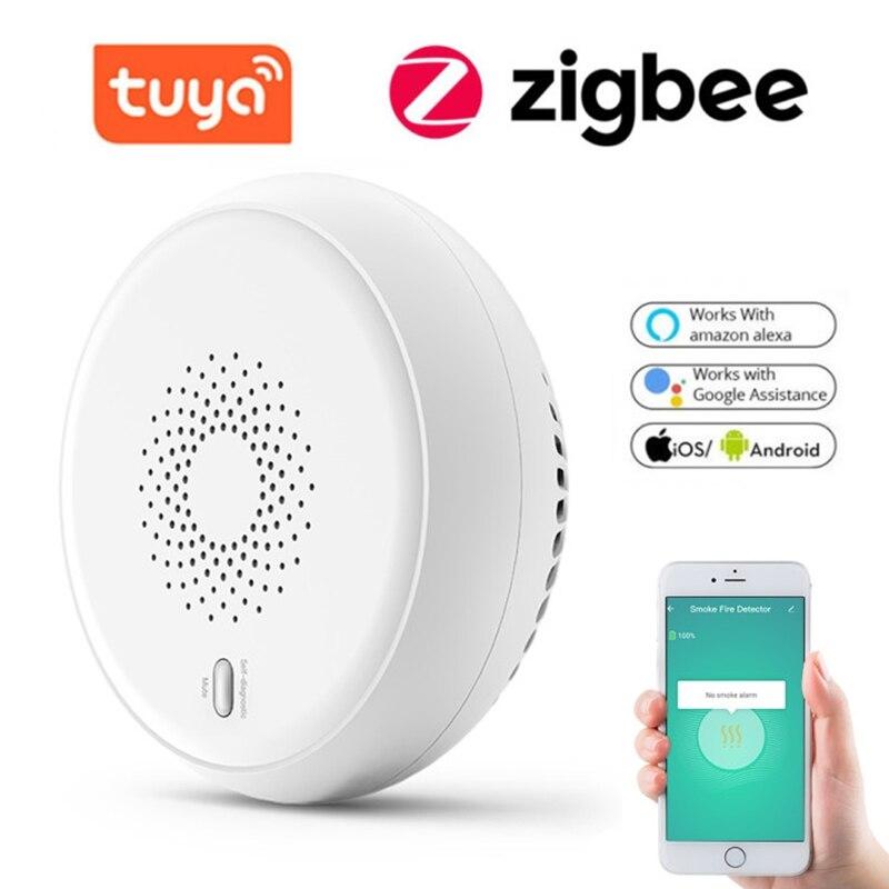 Tuya-كاشف دخان Zigbee ، مستشعر أمان منزلي ذكي ، نظام إنذار حريق ، إخطار التحكم في تطبيق Smart Life