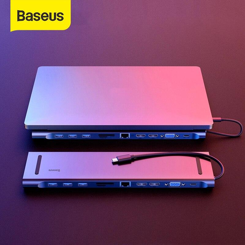 Baseus متعدد USB C HUB إلى VGA RJ45 3.0 USB HUB ل MacBook Pro نوع C HUB ملحقات الكمبيوتر 11 منافذ الفاصل USB C HUB