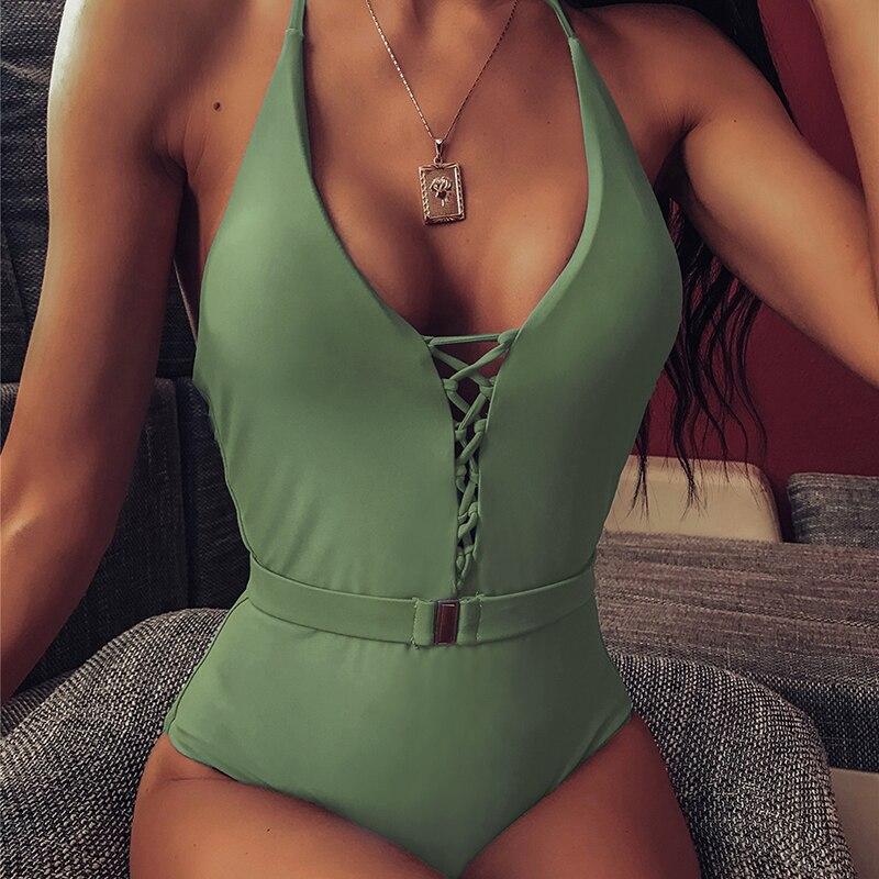 Bikini con tiras, 2020, traje de baño para Mujer, monos de una pieza de encaje fusionado para Mujer, traje de baño con cinturón de corte alto