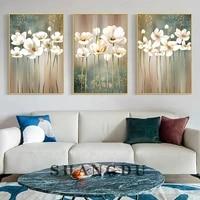 Affiche de fleurs blanches retro  images dart mural moderne pour salon chambre a coucher  peinture sur toile decorative de maison nordique