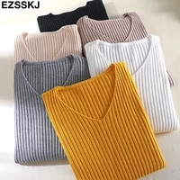 2020 basic v neck solid autumn winter sweater pullover women female knitted sweater slim long sleeve badycon sweater cheap
