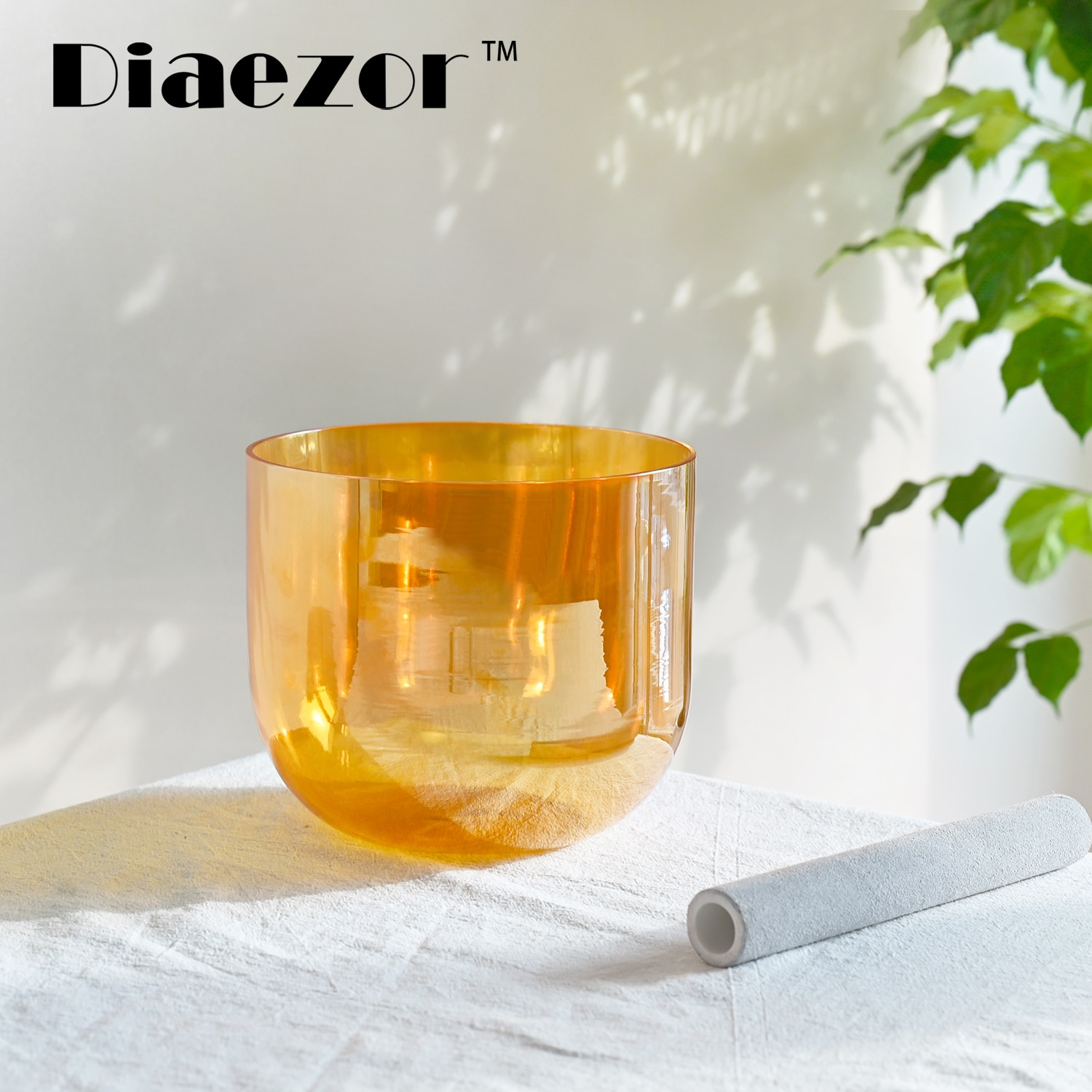 Diaezor 7 Inch Color Clear Chakra Cosmic Light Alchemy Magic Orange Crystal Singing Bowl for Meditation with hollow suede stick enlarge