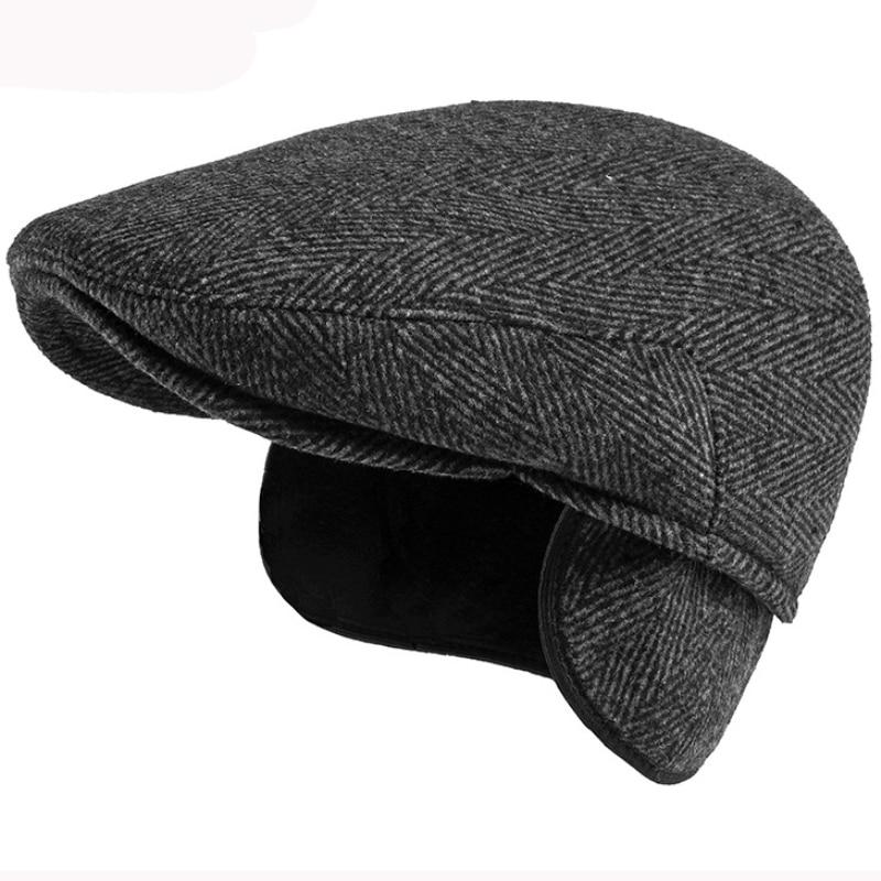 HT3719 Beret Cap Thick Warm Autumn Winter Hat Men Striped Ivy Newsboy Flat Cap Male Artist Painter W