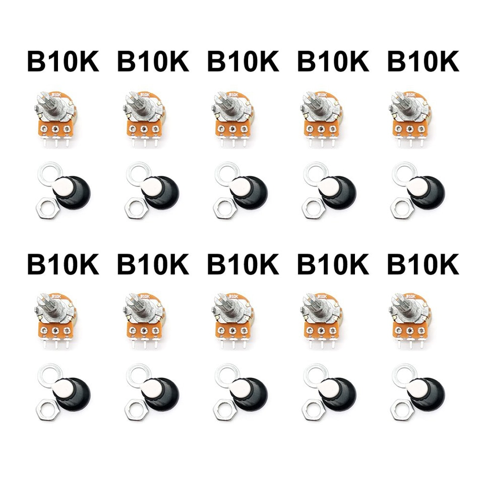 Potentiometer Widerstand 1K 2K 5K 10K 20K 50K 100K 250K 500K 1M Ω/Ohm 3Pin Linear Taper Dreh Potentiometer für Arduino