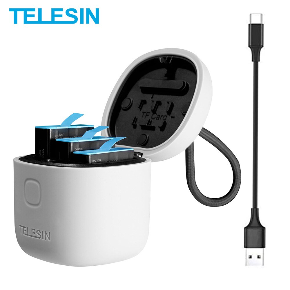TELESIN 3 حزمة بطارية ل GoPro 10 9 8 7 الأسود 3 فتحات LED ضوء صندوق شاحن TF قارئ بطاقة التخزين ل GoPro بطل 5 6 7 8 9 10