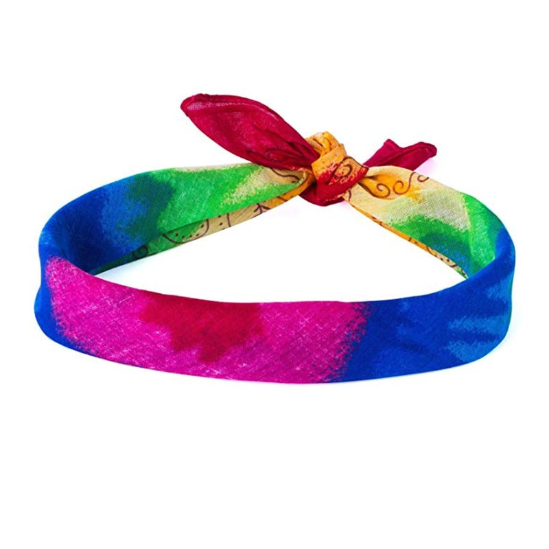 Bandana cuadrada de verano para niños adultos diadema Radial Arco Iris Tie-Dye Hip Hop deporte cabeza WRAP cuello bufanda Gay Pride accesorio pulsera