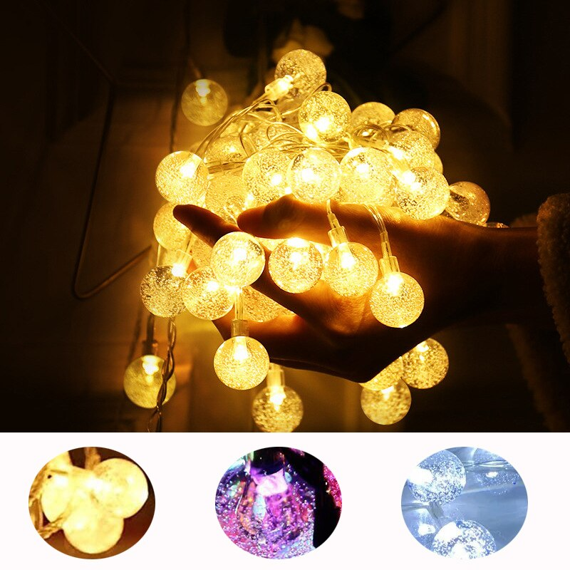 Guirnalda con burbujas de cristal con luces redondas, guirnaldas 100LED de 10M, lámpara de hadas Flash con batería de 6M para exteriores, decoración de Navidad, vacaciones, hogar