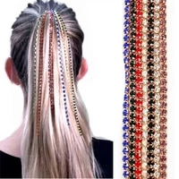 personality fashion head chain rhinestone long tassel colorful crystal beads wig extension women gift bb clip hair accessories