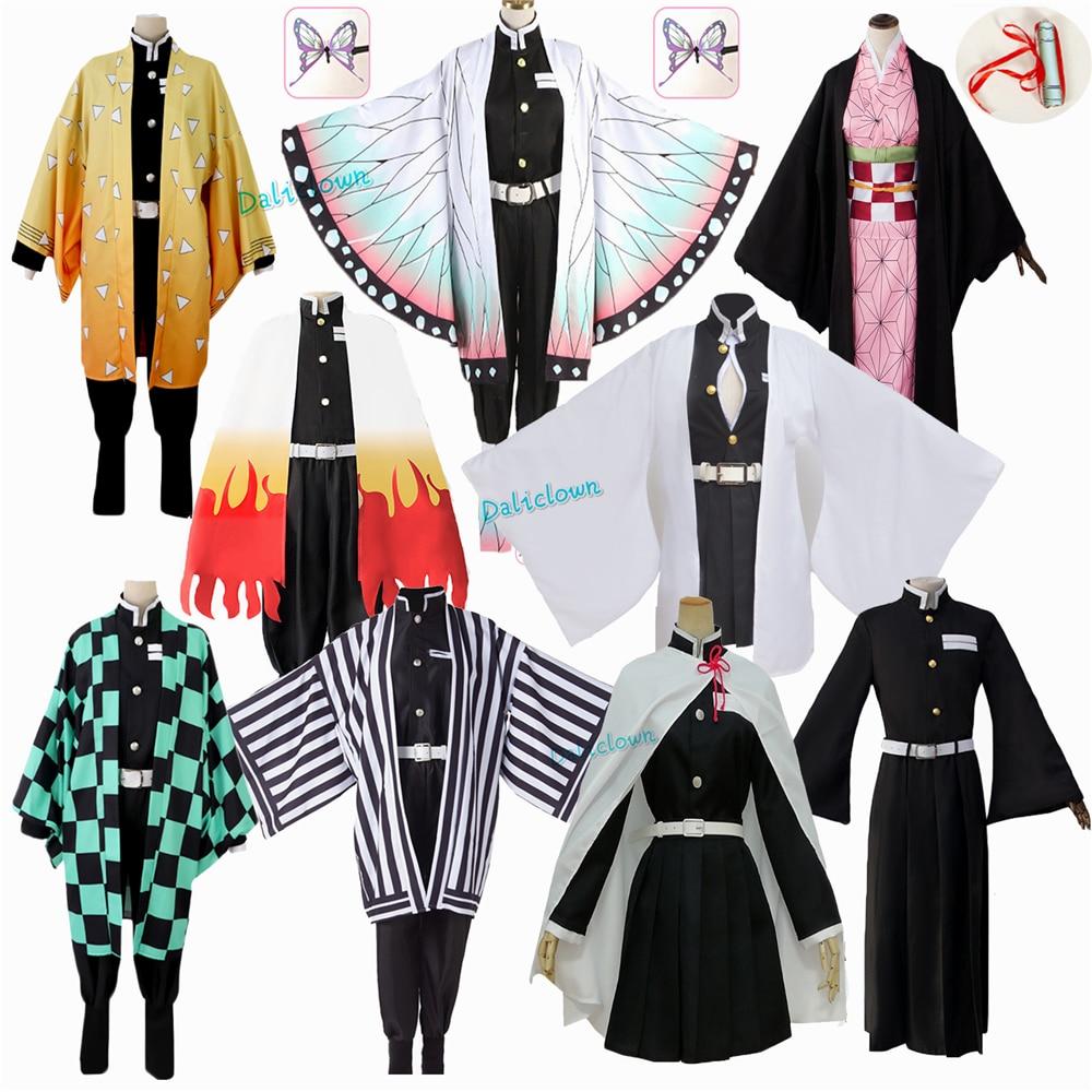 Anime Demon Slayer: Kimetsu No Yaiba Zenitsu Giyu Tanjirou Kamado Nezuko Cosplay Women Kids Men Kimono Uniform Cosplay Costume