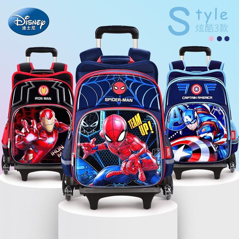 Marvel Avengers Iron Man Spiderman Children's Trolley School Bag Six-wheel Drag Waterproof Large Capacity School Bags