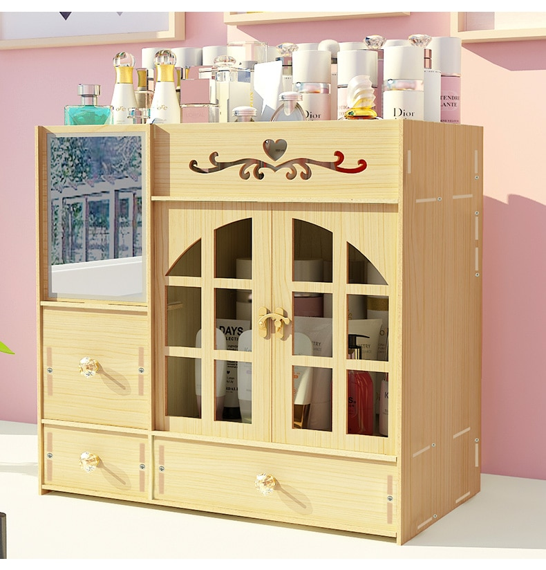 коробка для хранения Wooden Cosmetics Storage Box Simple Desktop Dresser Skin Care