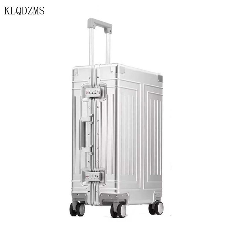 KLQDZMS 20 ''24'' 26 ''29'' мужские высококачественные персонализированные дорожные чемоданы, полностью Алюминиевая тележка, студенческий чемодан на ...