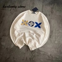 2021 luxury design three flower embroidery fashion round neck long sleeve pullover temperament versatile loose casual sweater