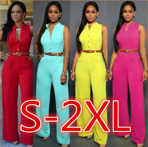 S-2XL PlusSolid Casual Sexy Sleeveness Jumpsuits 2021 New Arrival Women Summer Fashion Slim Elegant Long Rompers Female XXL