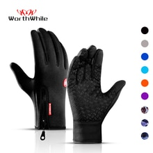 WorthWhile Winter Cycling Gloves Bicycle Warm Touchscreen Full Finger Gloves Waterproof Outdoor Bike