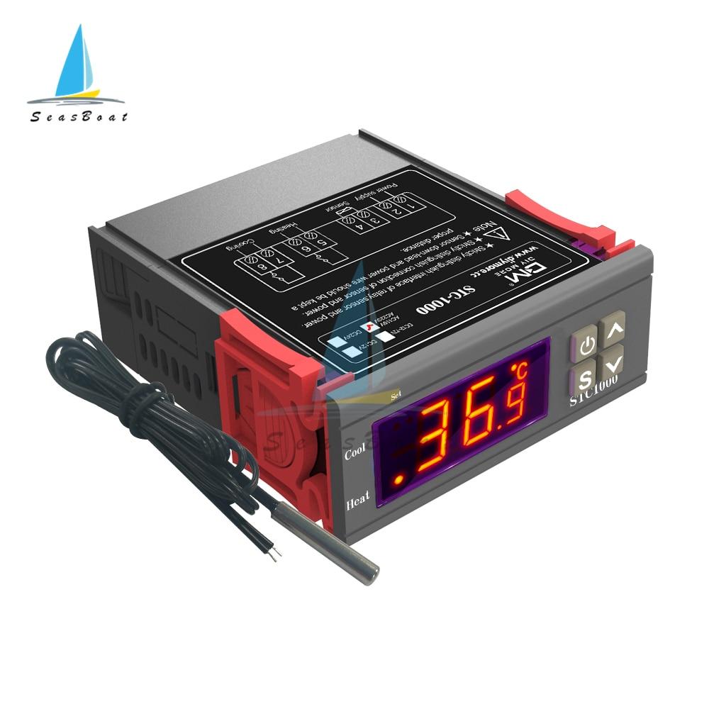 STC-1000 220V 24V 12V controlador de temperatura Digital LED interruptor del termostato termorregulador para la refrigeración de la calefacción del relé de la incubadora