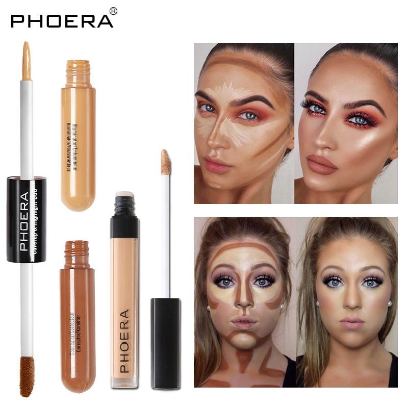 PHOERA Double/single Head líquido iluminador corrector Stick cobertura completa Base crema maquillaje duradero ojos de cara TSLM2