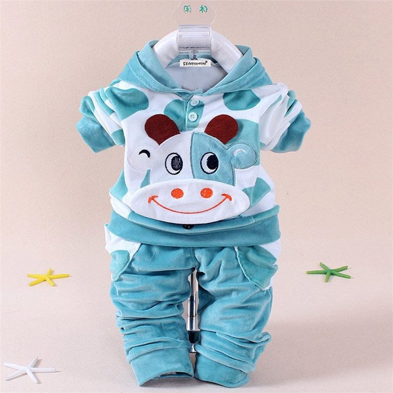 bibicola 2018 autumn winter newborn baby boy girls warm thicken clothing sets infant suit baby boys clothes set toddler outfits Toddler Girl Clothes Autumn Winter Newborn Clothes Set Cartoon Cotton Infant Clothing Hoodie+Pants Outfits Suit Baby Boy Clothes