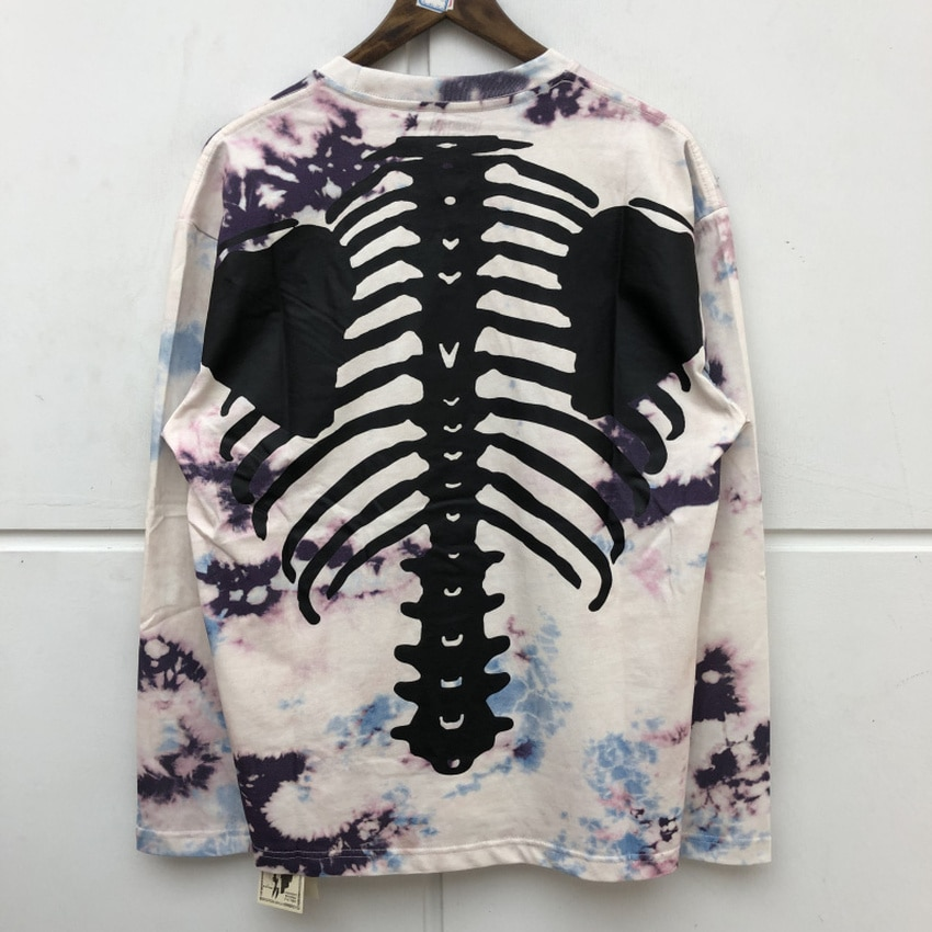 Manga larga Splash ink Tie-dye KAPITAL camiseta hombres mujeres Hip Hop esqueleto impresión ósea camiseta camisetas