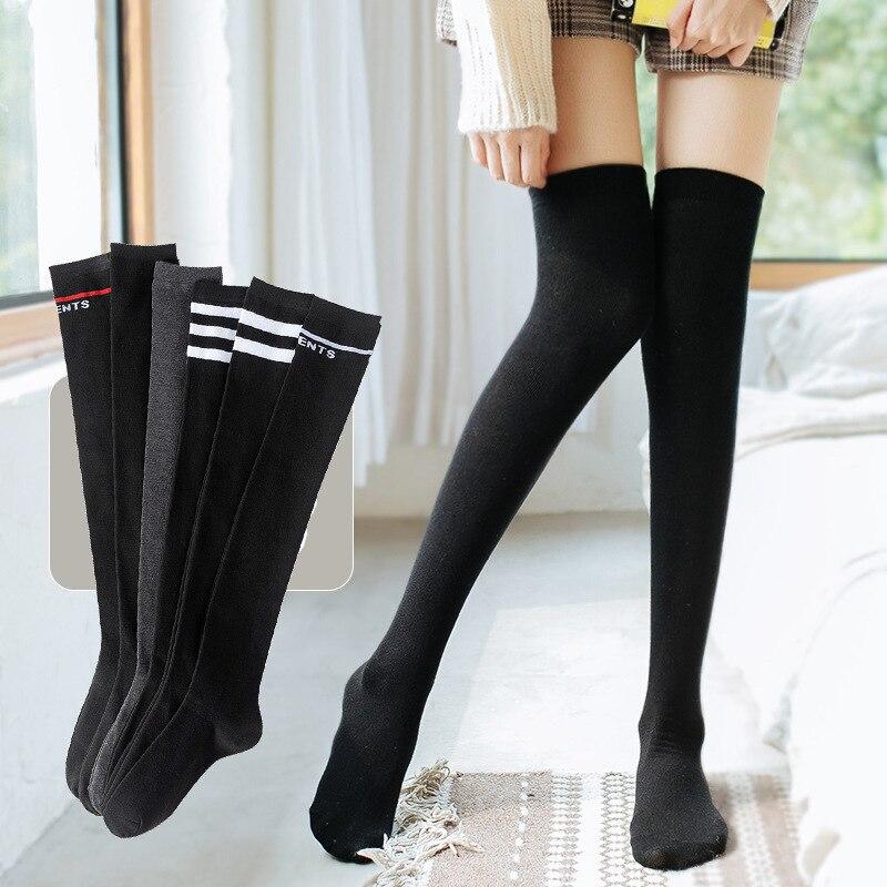 Женские носки JK милые Лолиты в японском стиле длинные носки выше колена кавайные плотные модные трендовые однотонные высокие носки