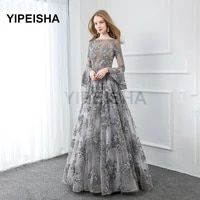 gray lace long sleeve evening dresses embroidered crystals beaded formal prom party gown custom size robe de soir%c3%a9e de mariage