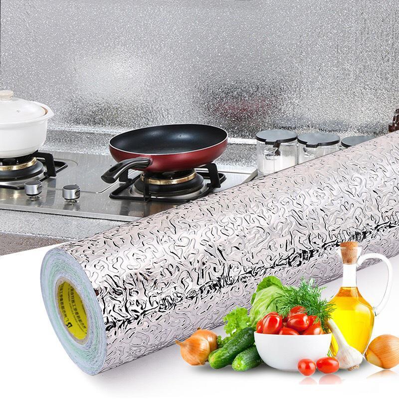 Ttlife 40x100cm cozinha à prova de óleo à prova doil água adesivos de folha de alumínio armário fogão auto adesivo parede papel de parede diy
