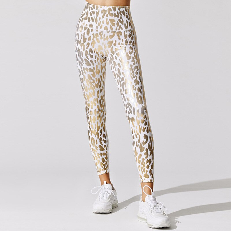 NORMOV Leopard Bronzing Leggings Women Sexy High Waist Buttock Elastic Fitness Jeggings Woman Push Up Printed Legging Workout