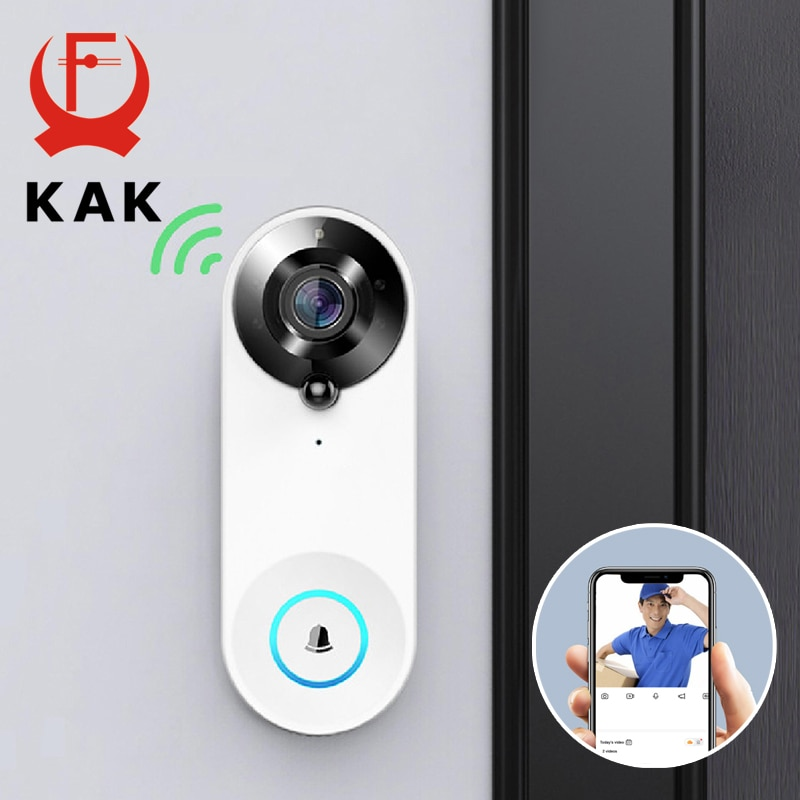 KAK اللاسلكية جرس باب بالفيديو عبر شبكة واي فاي كاميرا الذكية مراقب الباب ثقب 1080P HD PIR كشف الحركة ليلة الرؤية البصرية إنترفون