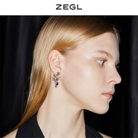 ZEGL Designer Colored Gems Series Star Flower Earrings Female High Grade Sense Elegant Stud 925 Silver Needle Ear Jewelry