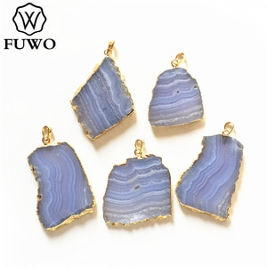 FUWO Fashion Irregular Blue Lace Agates Pendant With Gold Trimmed  Natural Stone Jewelry Findings Wholesale PD218
