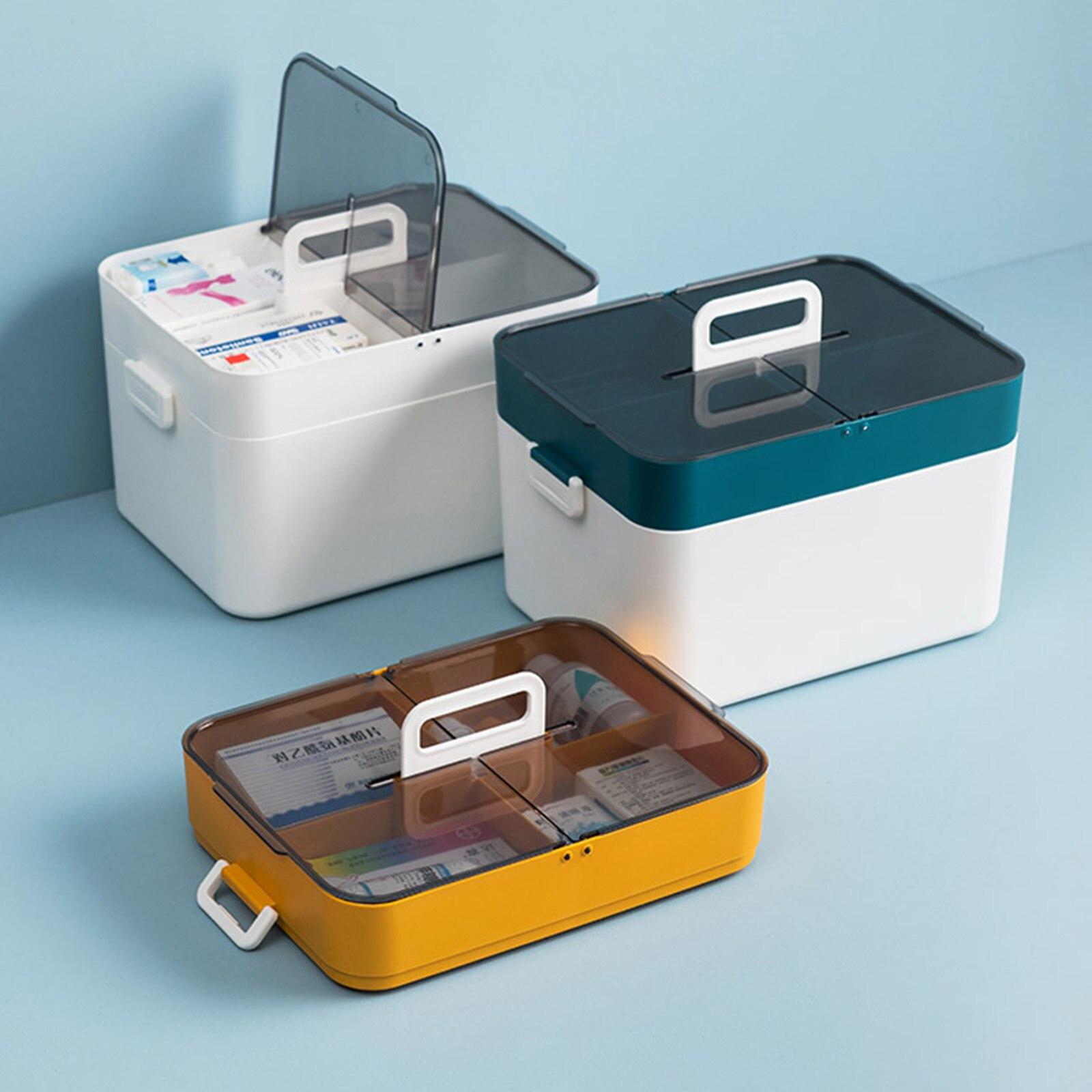 متعدد الطبقات البلاستيك صندوق الإسعافات الأولية المحمولة صندوق دواء صغير مع غطاء صندوق تخزين مستلزمات طبية منزلية