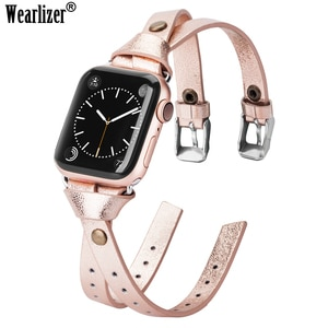 Wearlizer Women Leather Strap for Apple Watch Fashion Double Leather 38mm 40mm 42mm 44mm Band for iwatch series 5 4 3 2 1