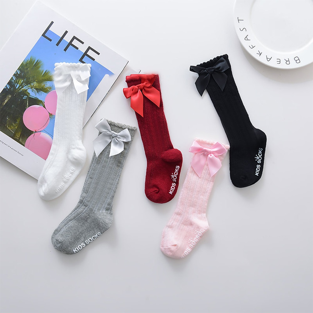 Large children's socks with cotton bow, long socks and children's high 30