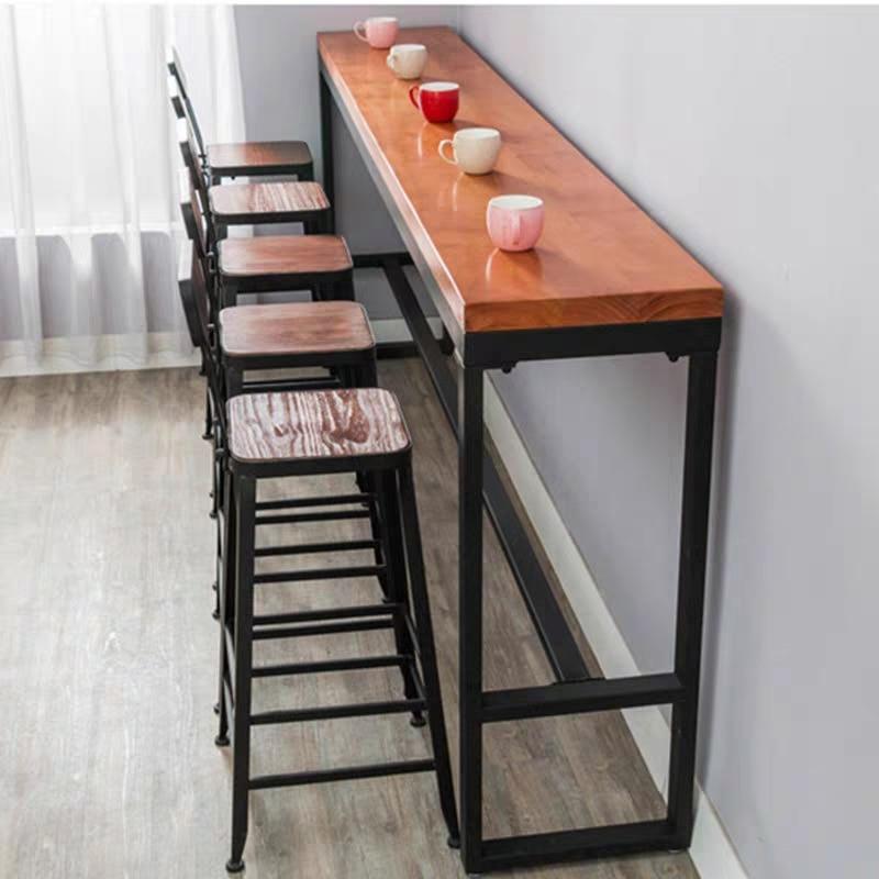 Ретро отдых кафе на стену барный стол домашний высокий барный стол длинный твердый деревянный металлический барный стол